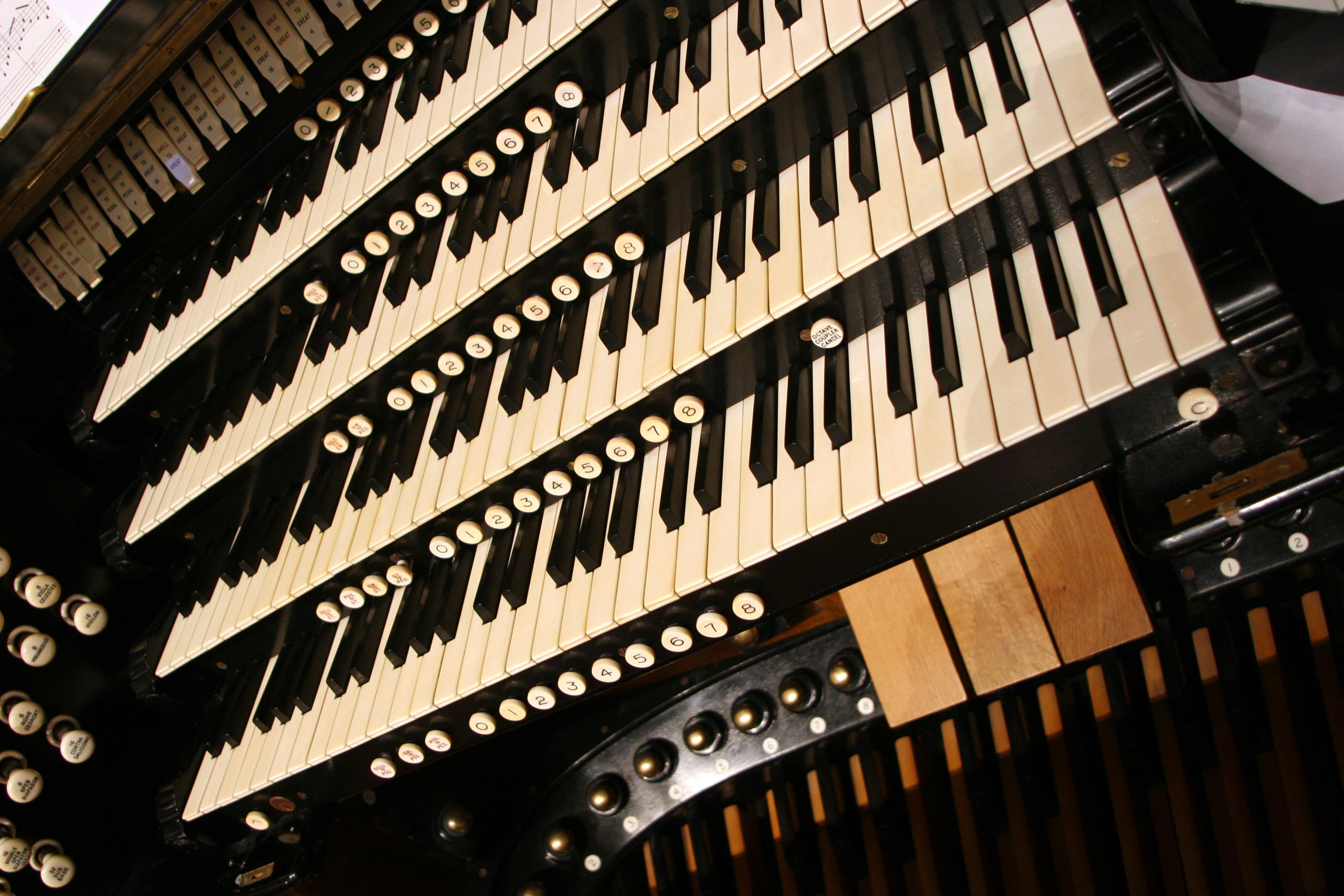 Close-up of the keys of the Brangwyn Hall Willis Organ